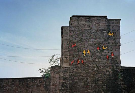 orange street art: birds