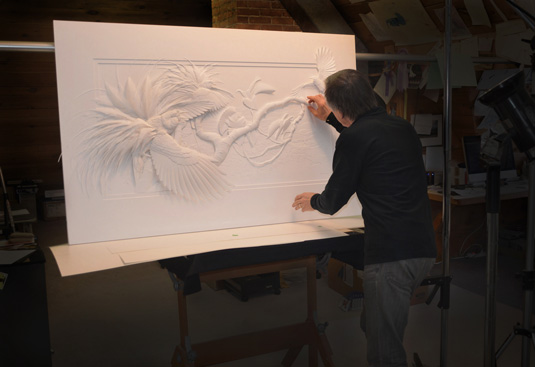 Calvin Nicholls Paper Art - working