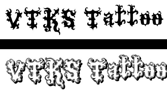 Tattoo fonts Viks