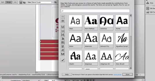 Adobe Dreamweaver CC: Edge web fonts