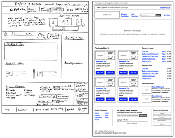 Two wireframes, one project: quick and loose versus tight and detailed