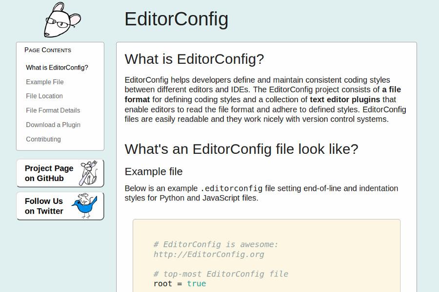 web design tools: EditorConfig