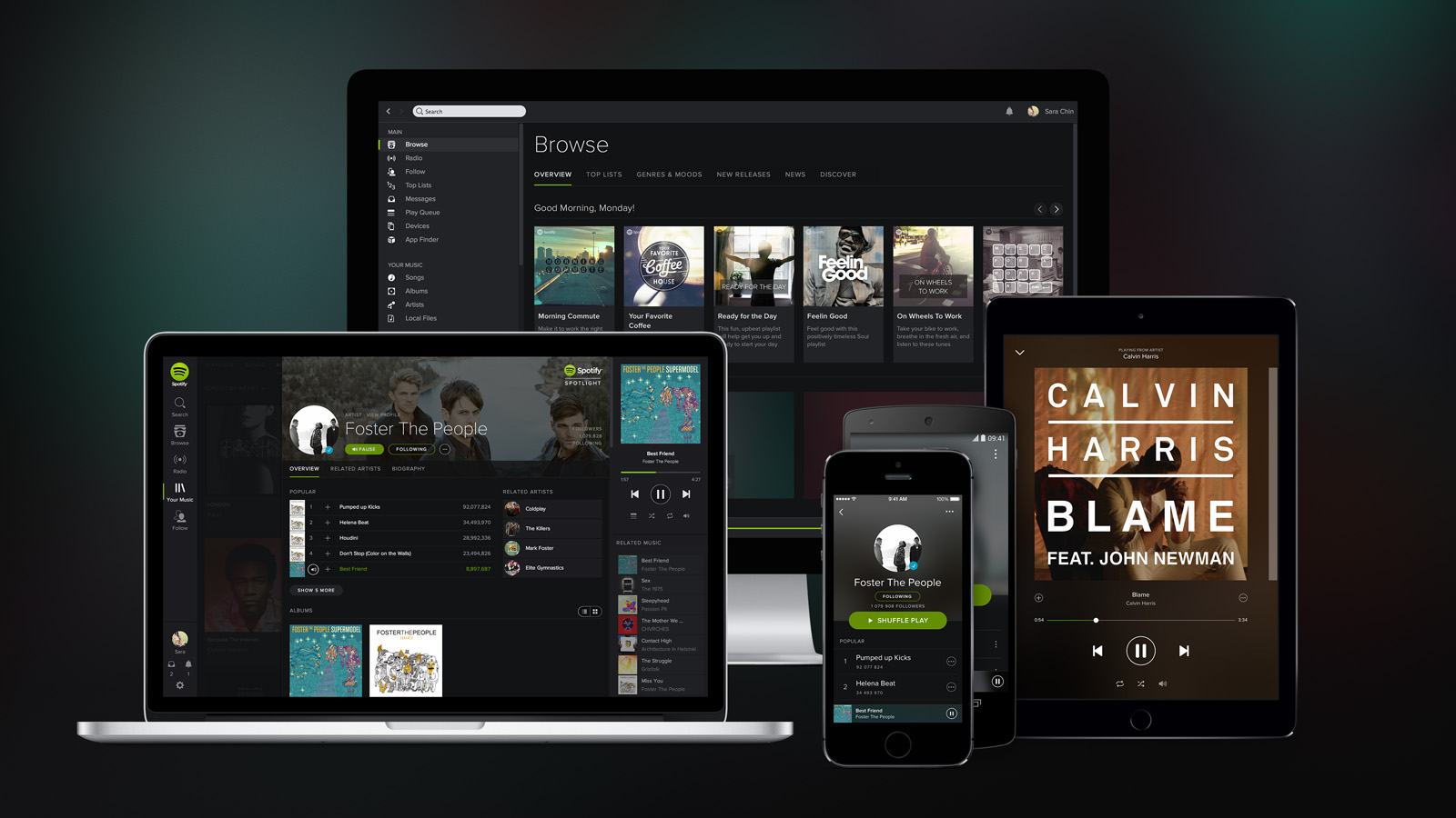 A photo of Spotify on a number of mobile devices