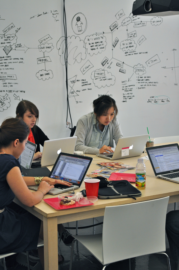 HUGE UX School trainees at work on an assignment in HUGE's offices in Brooklyn, NY