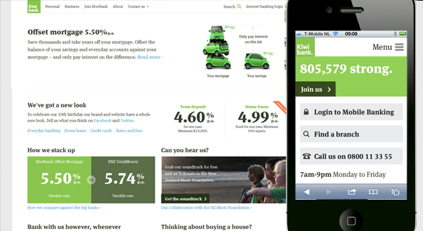 Use cases determine content: Kiwibank's new responsive site prioritises different tasks for desktop (left) and mobile viewers