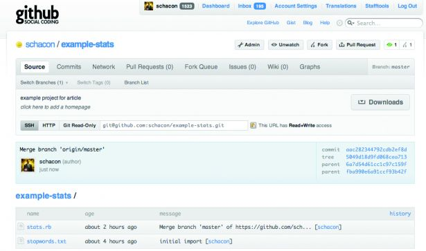 A typical GitHub page for your project once you've pushed it back up to the server, ready to share with the world