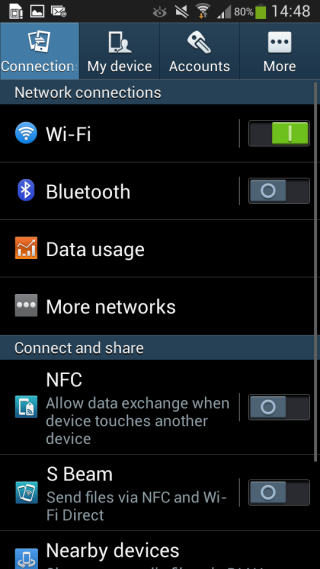 how to use s beam on galaxy s4