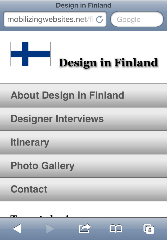 The mobile version of the Design in Finland example