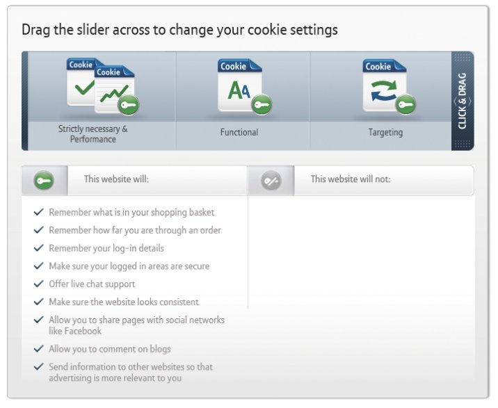 BT's cookie settings, controlled via a slider, begin with implied consent