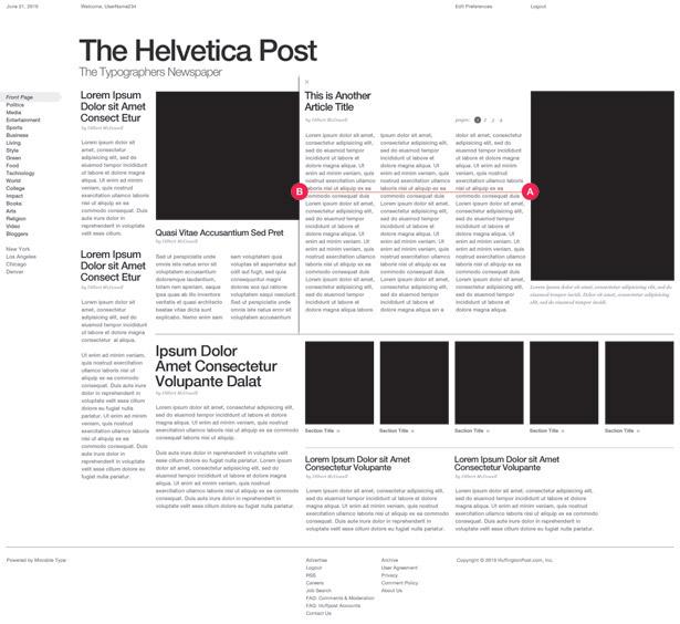 Grid-based web design: iPad layout