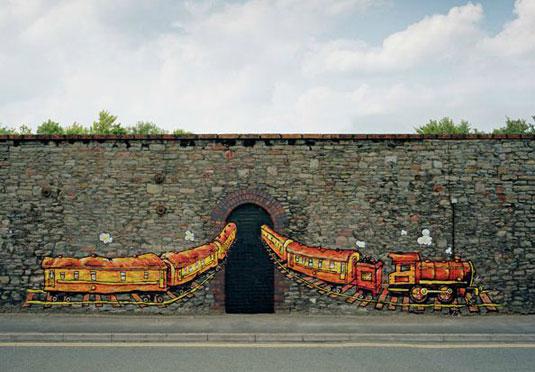 orange street art: train