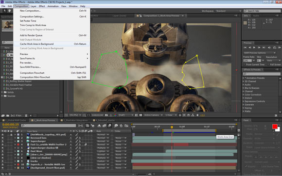 Adobe After Effects CS6: Work Area in Background