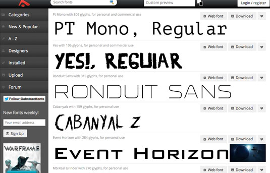 Download fonts: Abstract fonts