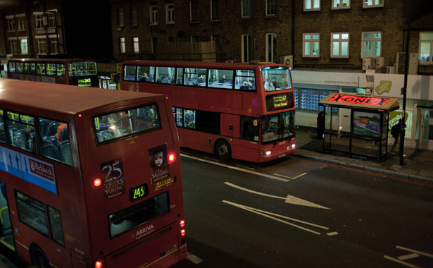 Bus-Tops: LED art for top desk travellers - Forest stop