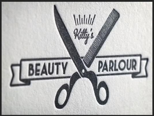 Letterpress business cards: Kitty's Beauty Parlour