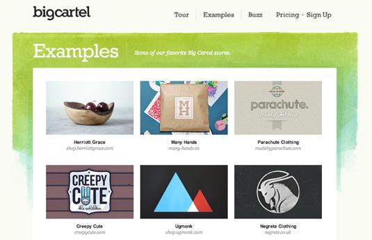 Sell design work: BigCartel