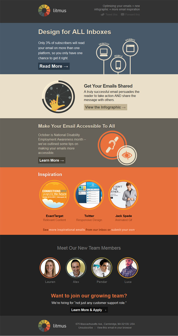 Email newsletter designs: Litmus