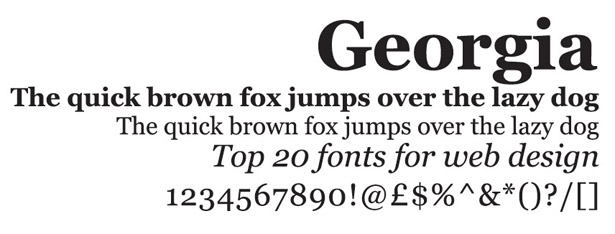 Web fonts: Georgia