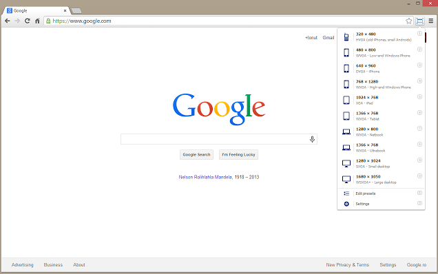 Google Chrome extensions - Windows Resizer