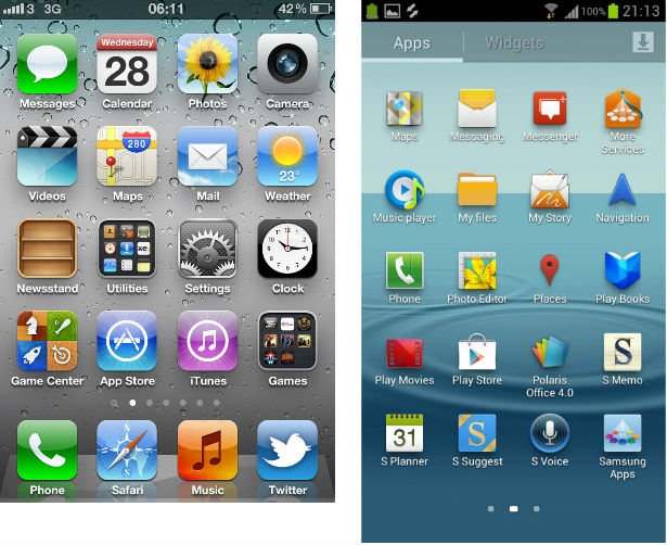Samsung Galaxy S3 Android 4.0 Icecream Sandwich vs Apple iOS