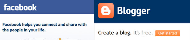 Facebook and Blogger's simple jargon free homepage copy