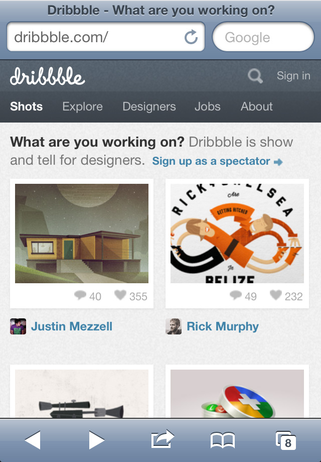 Dribbble's responsive presentation was not a mobile first redesign, but still delivers a great mobile navigation and browsing experience