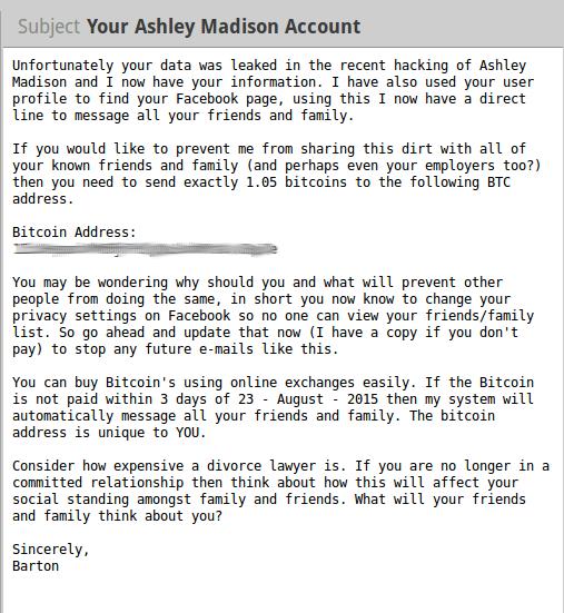 Ashley Madison blackmail