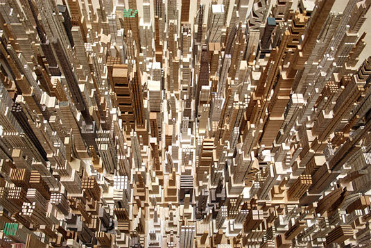 Wooden city sculptures