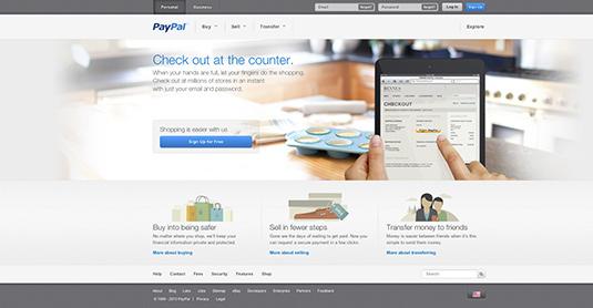 Colour trends web design 2013: PayPal