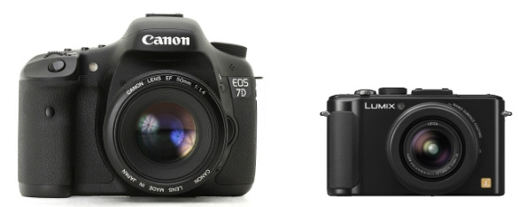 Canon 7D vs Panasonic Lumix LX7 Front