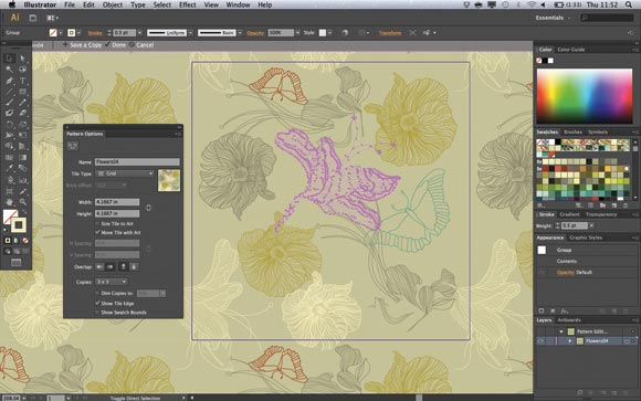 Adobe Illustrator CS6's pattern creation tools are superb