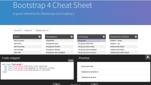 web design tools: Bootstrap 4 cheat sheet