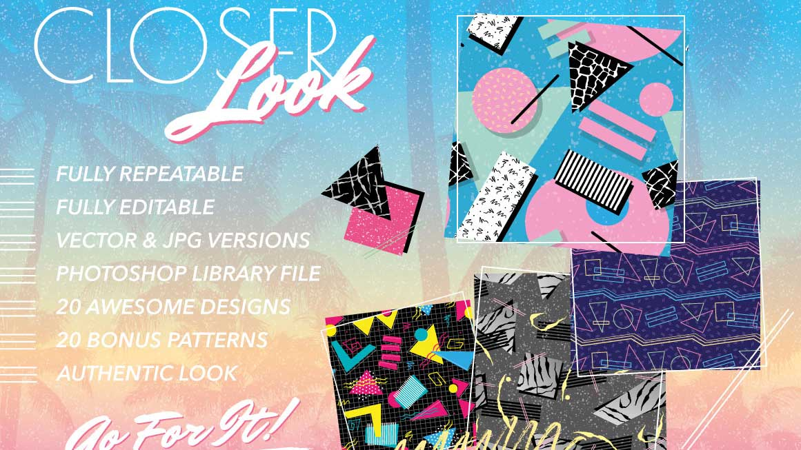 Best graphic design tools for May: 1980s Retro Fashion patterns