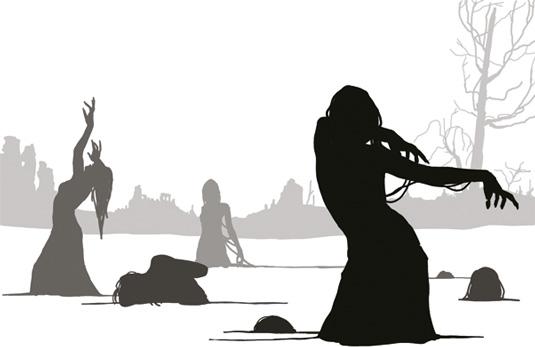 zombie dancers silhouette