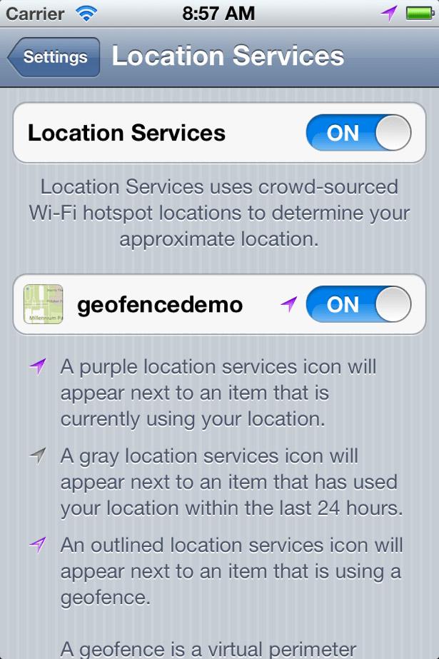 Geofencing: settings
