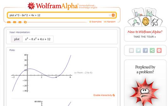 Data visualization: Wolfram Alpha