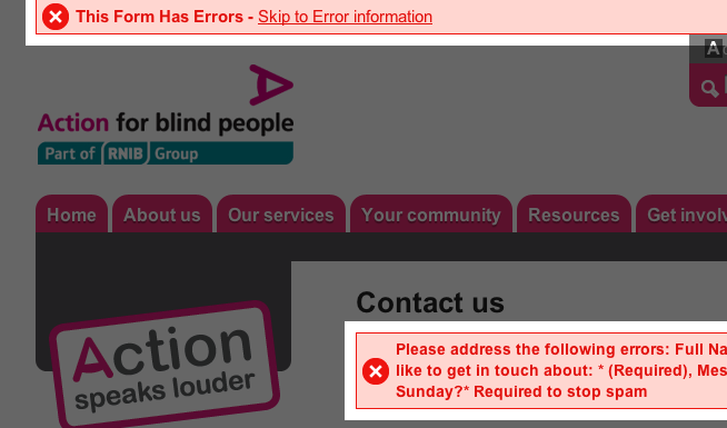 Form error alert on Action for Blind People website