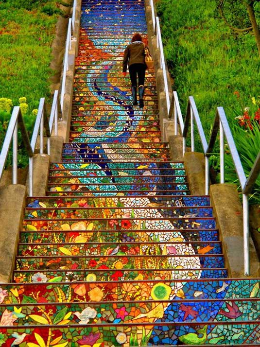 Mosaic art - secret mosaic staircase