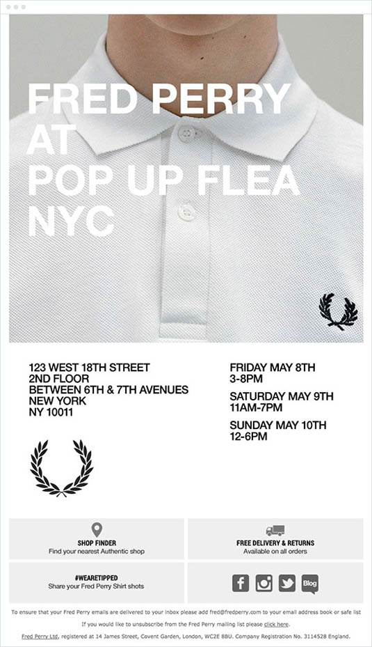 email newsletter designs: Fred Perry