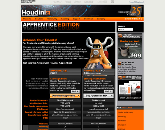Free graphic design software: Houdini