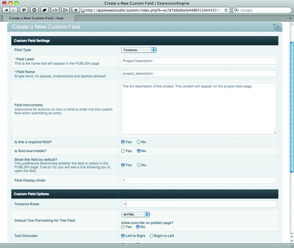 creating a new custom field in the control panel for the project description field