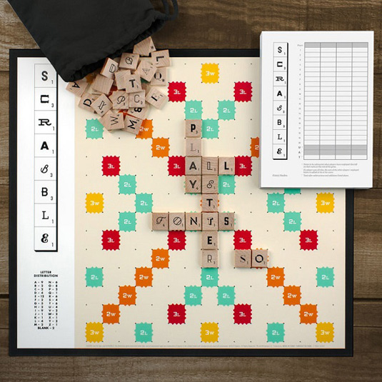 Typography Scrabble board