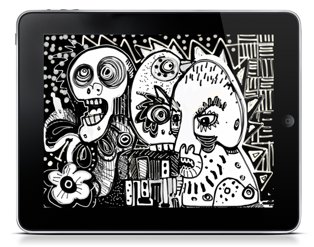 Example of collaborative artwork produced with Sketchshare, by 154 Collective