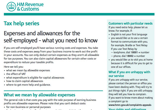 Expenses and allowances for the self-employed