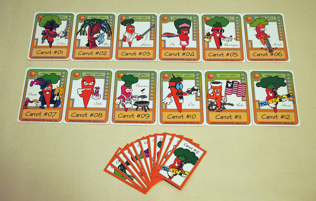 Figure 5.8 Players exercise control over the outcome of Killer Bunnies by acquiring carrot cards, increasing the probability that they'll capture the randomly selected magic carrot