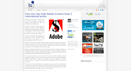 4. Fury over sky-high Adobe Creative Suite 5 international prices