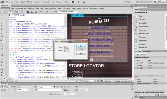 jQuery Mobile in Dreamweaver CS6