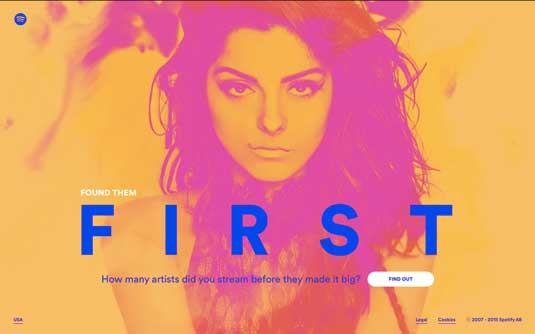 Spotify: Found them First homepage