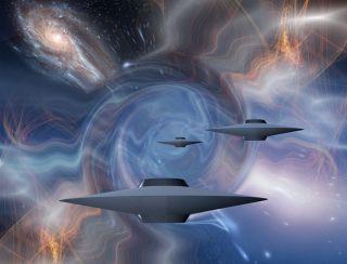 Alien spaceships in warped space.