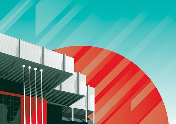 Premier League football stadium illustrations
